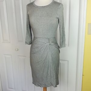 Amadi gray and black striped knotted dress